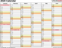 Template 3: 2024 Calendar for Excel, months horizontally, 2 pages, landscape orientation