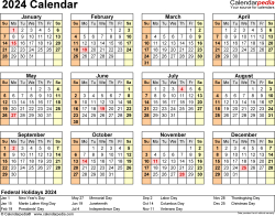 Template 9: 2024 Calendar for Excel, year at a glance, 1 page, landscape orientation