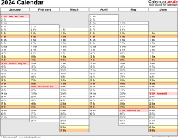 Template 4: 2024 Calendar for Excel, months horizontally, 2 pages, days of the week aligned/linear, landscape orientation