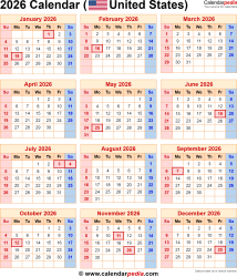 2026 Calendar for the USA, with US Federal Holidays