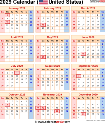 Download Calendar 2029 as PNG file