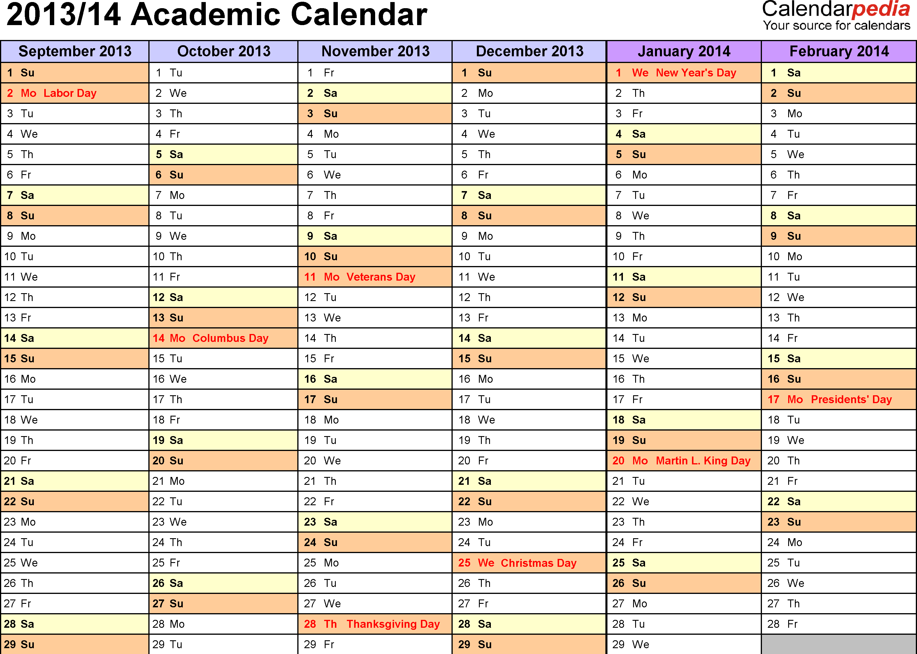 Template 2: Academic calendar 2013/14 for Word, landscape orientation, months horizontally, 2 pages