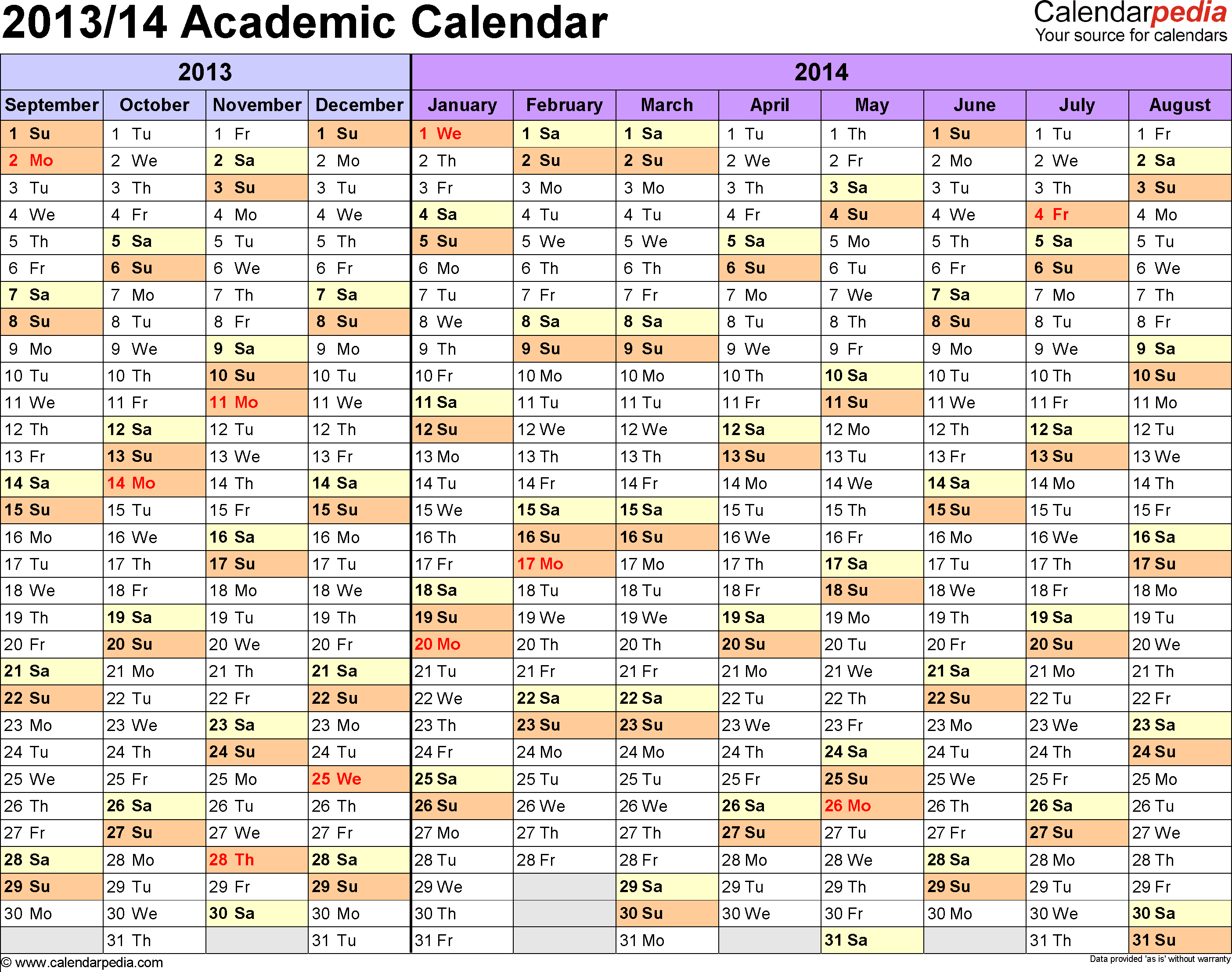 Template 1: Academic calendar 2013/14 for Word, landscape orientation, months horizontally, 1 page