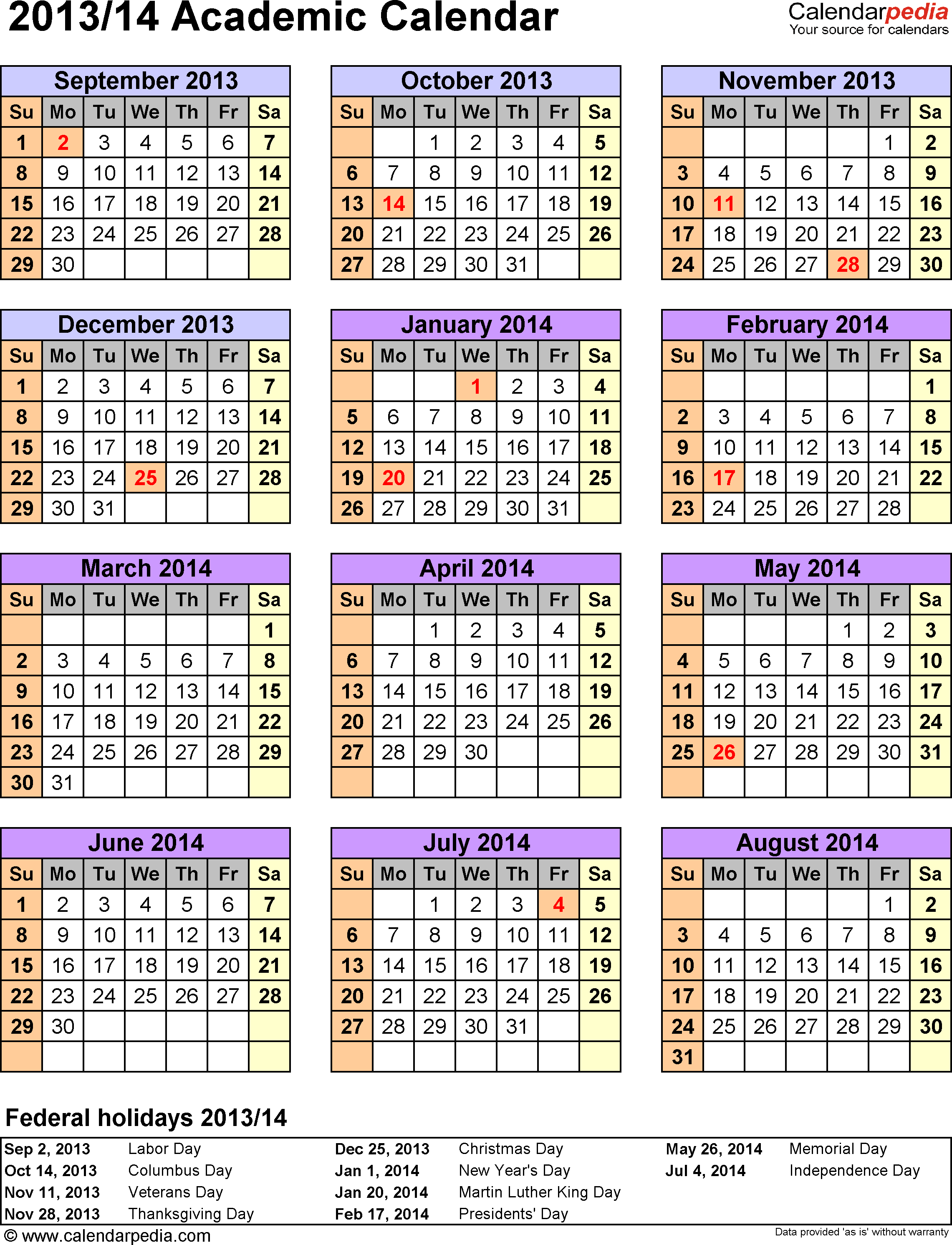 Template 5: Academic calendar 2013/14 for Word, portrait, 1 page, year at a glance