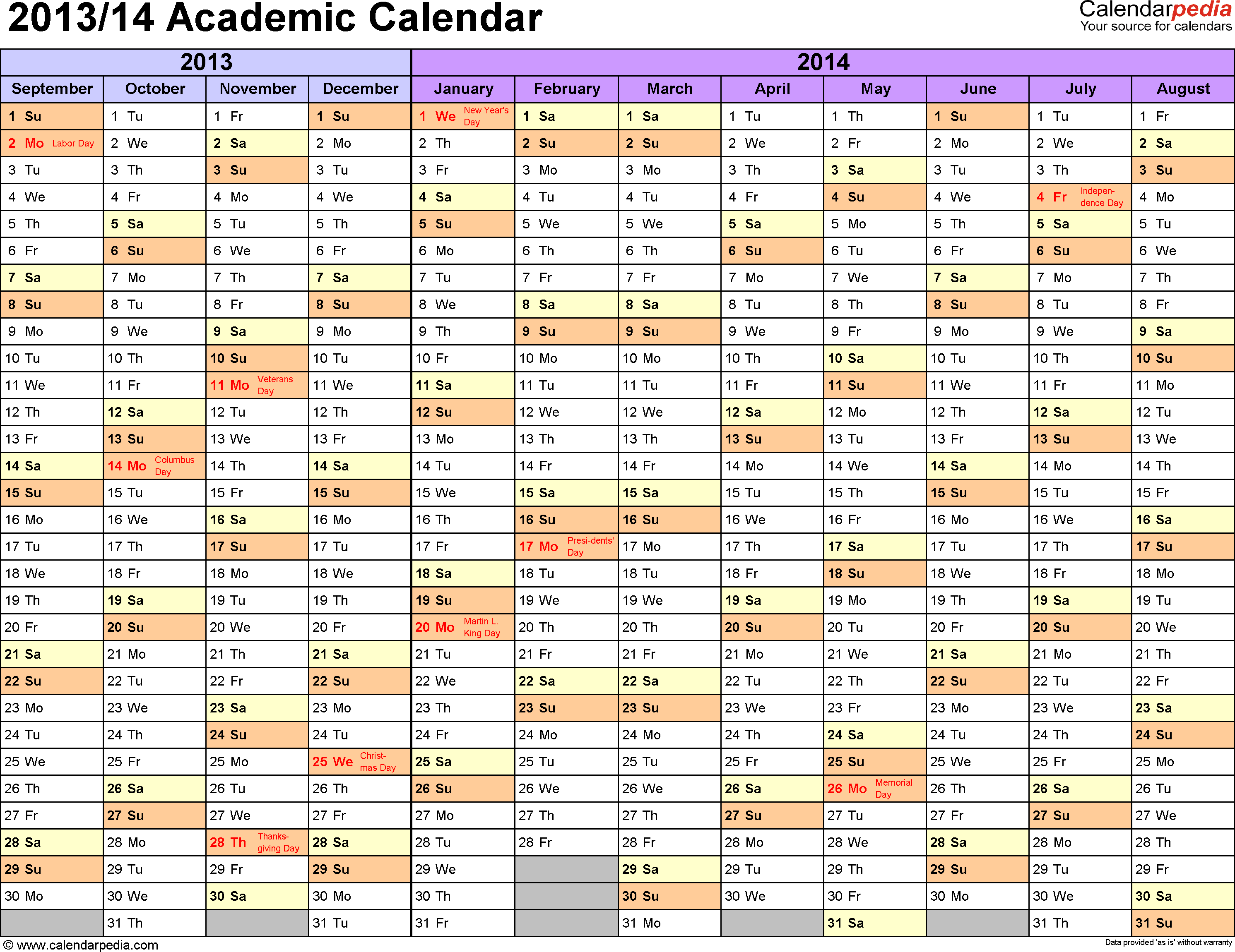 Template 1: Academic calendar 2013/14 for PDF, landscape orientation, months horizontally, 1 page