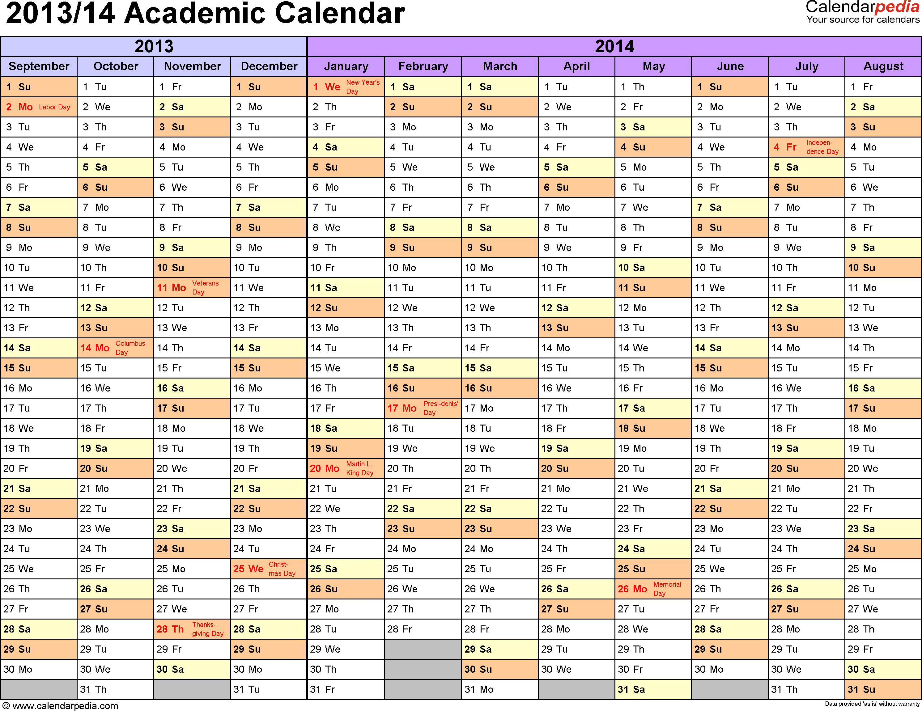 Download Template 1: Academic calendar 2013/14 for Microsoft Excel (.xlsx file), landscape, 1 page