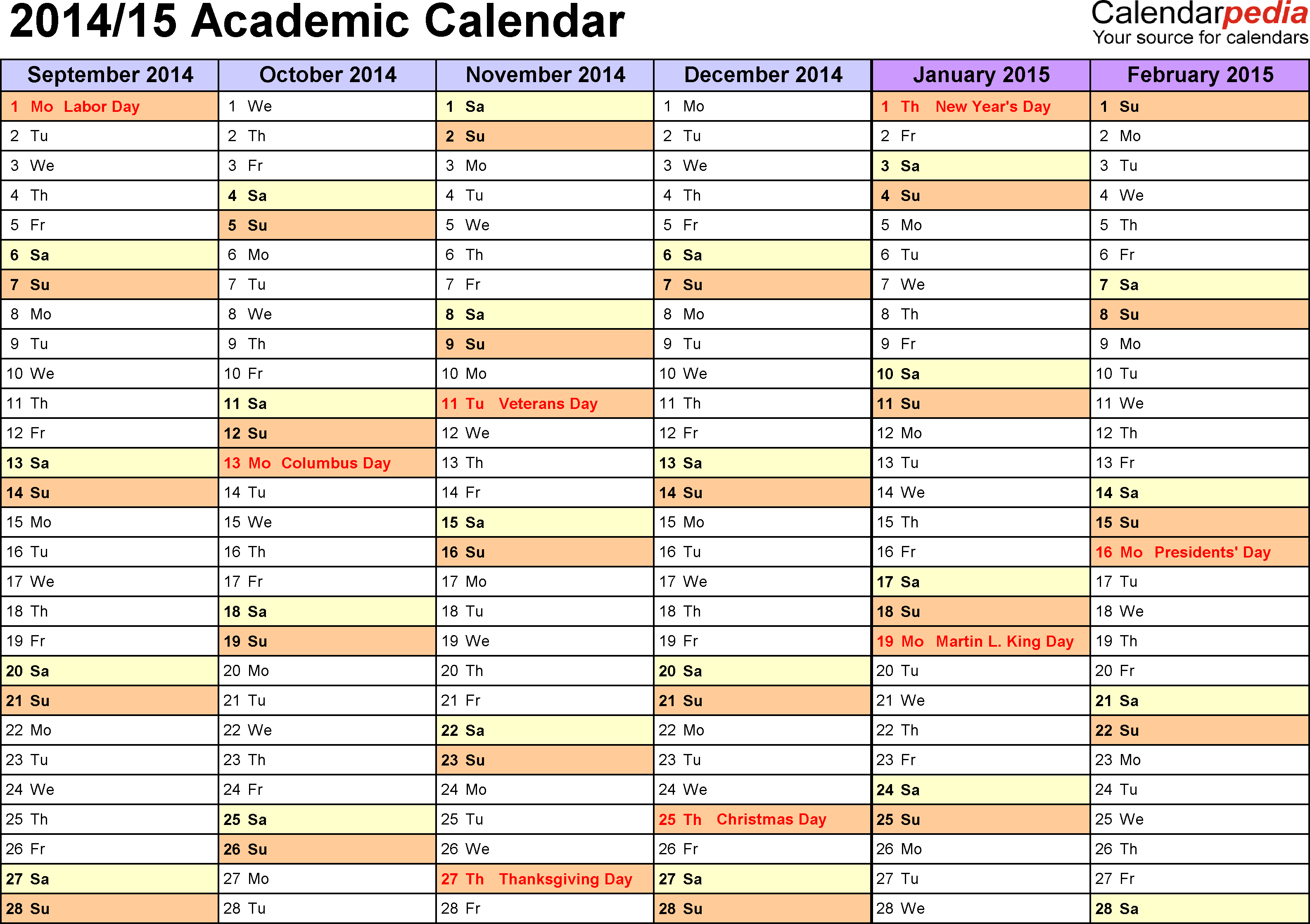 Template 2: Academic calendar 2014/15 for Excel, landscape orientation, months horizontally, 2 pages