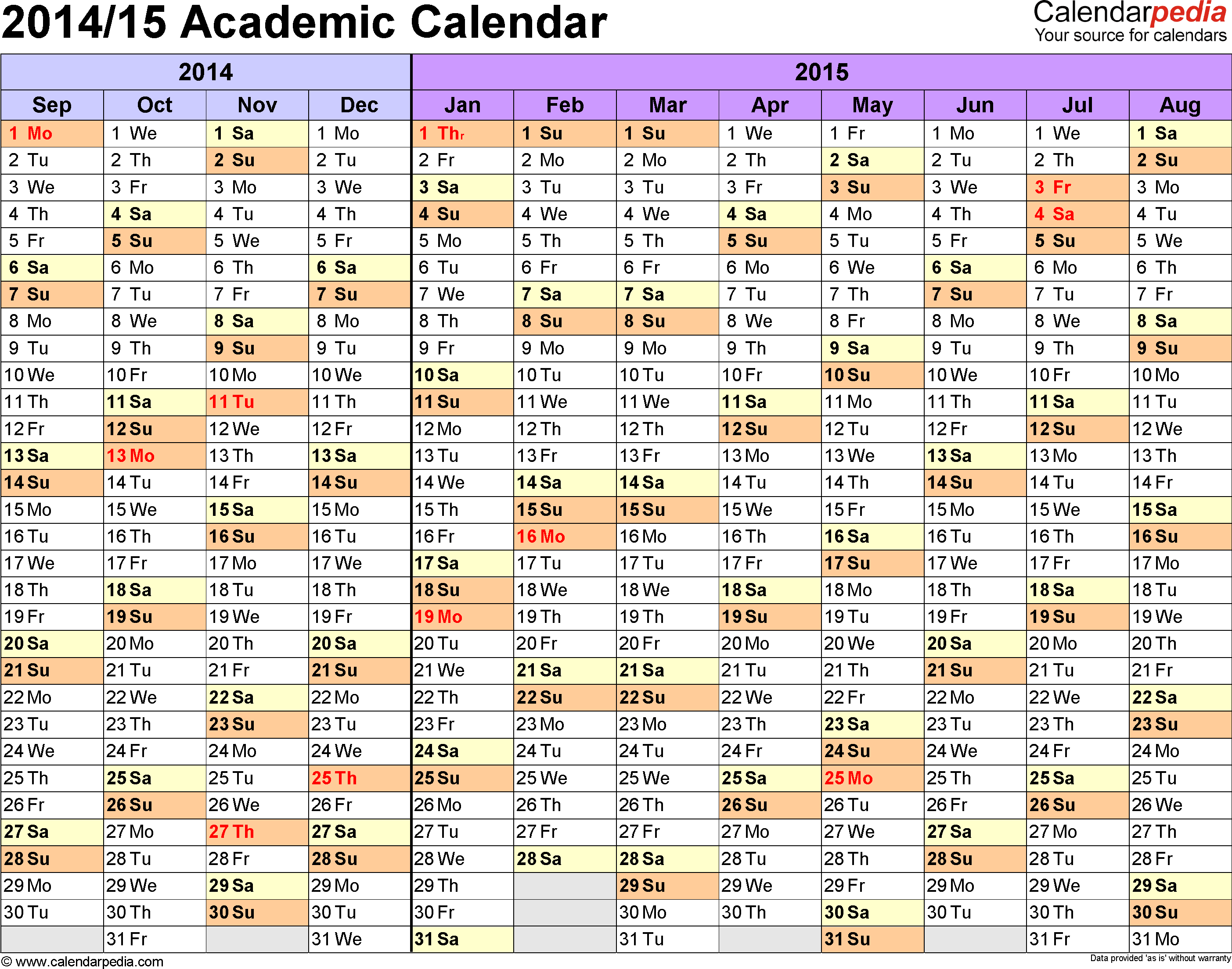 Template 1: Academic calendar 2014/15 for Word, landscape orientation, months horizontally, 1 page