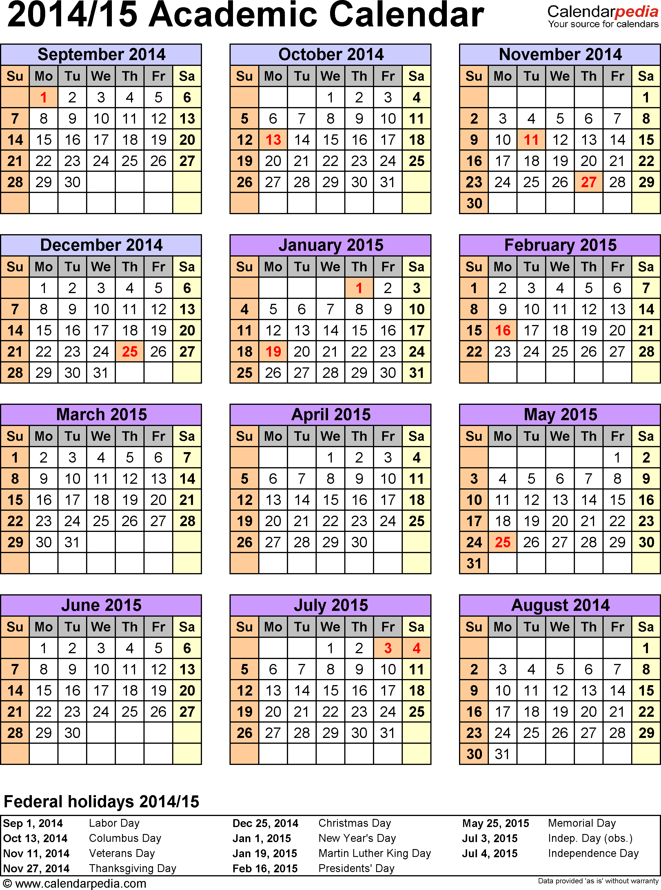 Template 5: Academic calendar 2014/15 for Word, portrait, 1 page, year at a glance
