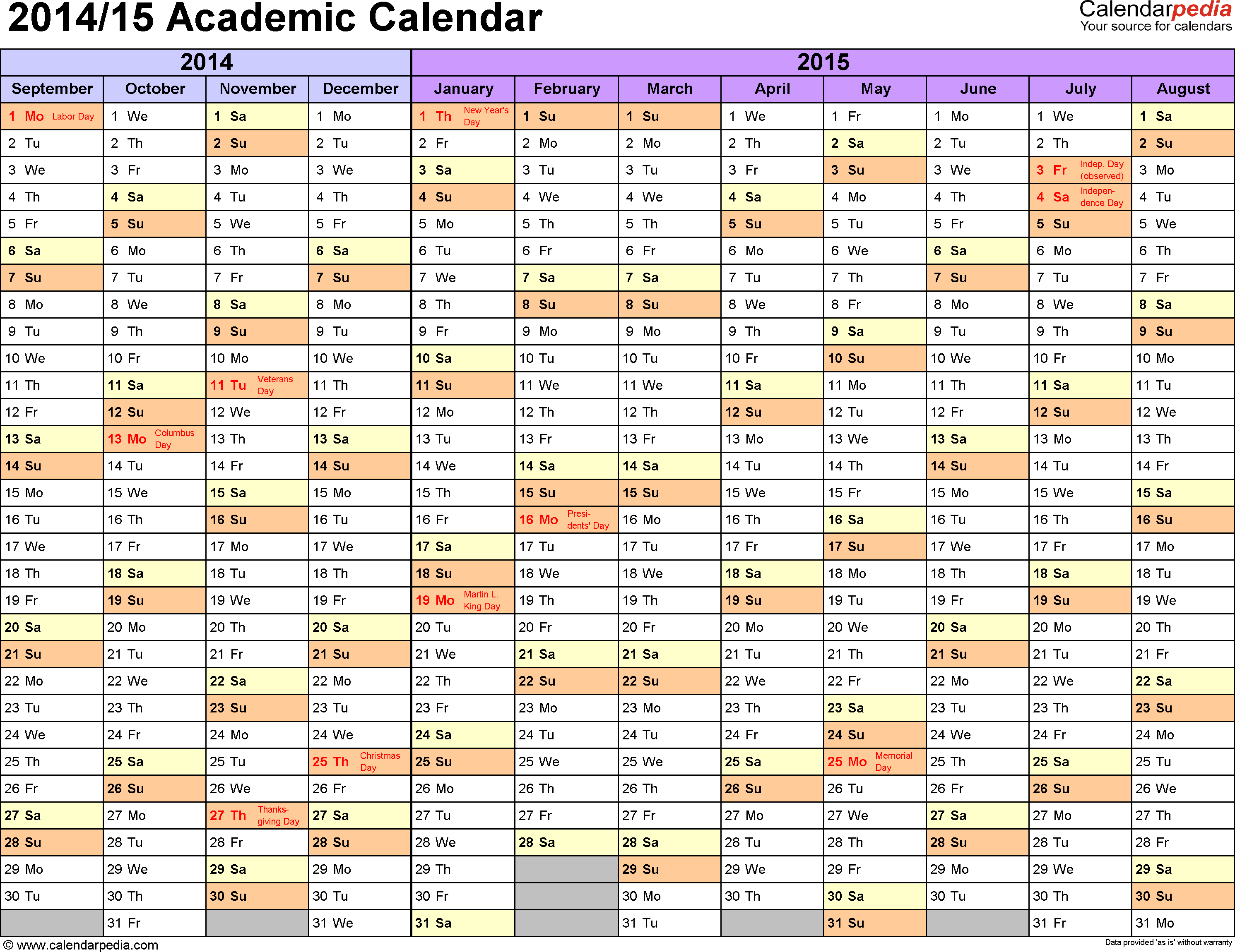 Template 1: Academic calendar 2014/15 for Excel, landscape orientation, months horizontally, 1 page