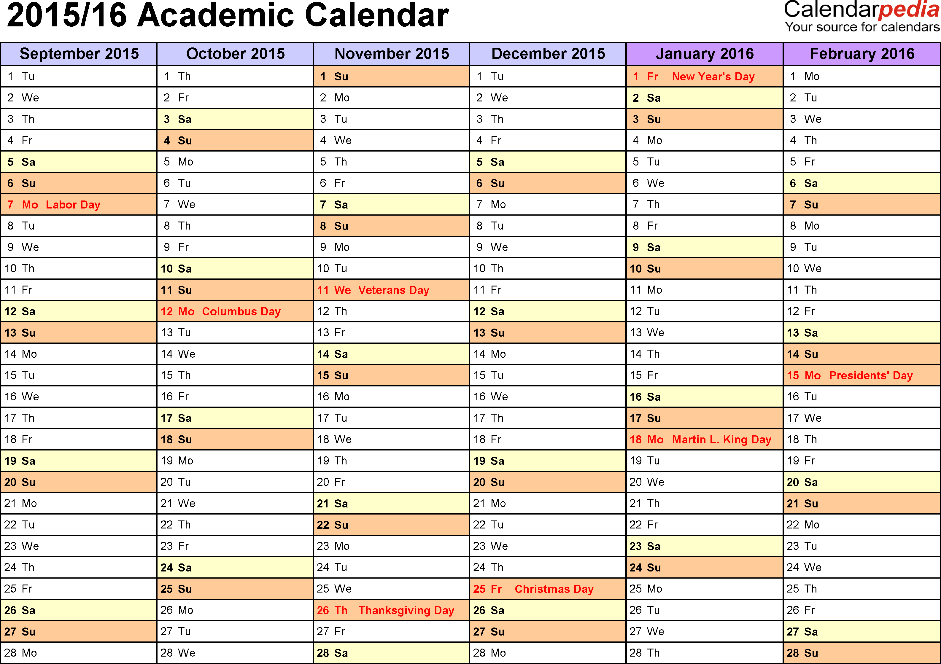 Template 2: Academic calendar 2015/16 for PDF, landscape orientation, months horizontally, 2 pages