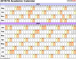 Template 2: Academic calendar 2015/16 for Excel, linear, landscape orientation, 1 page