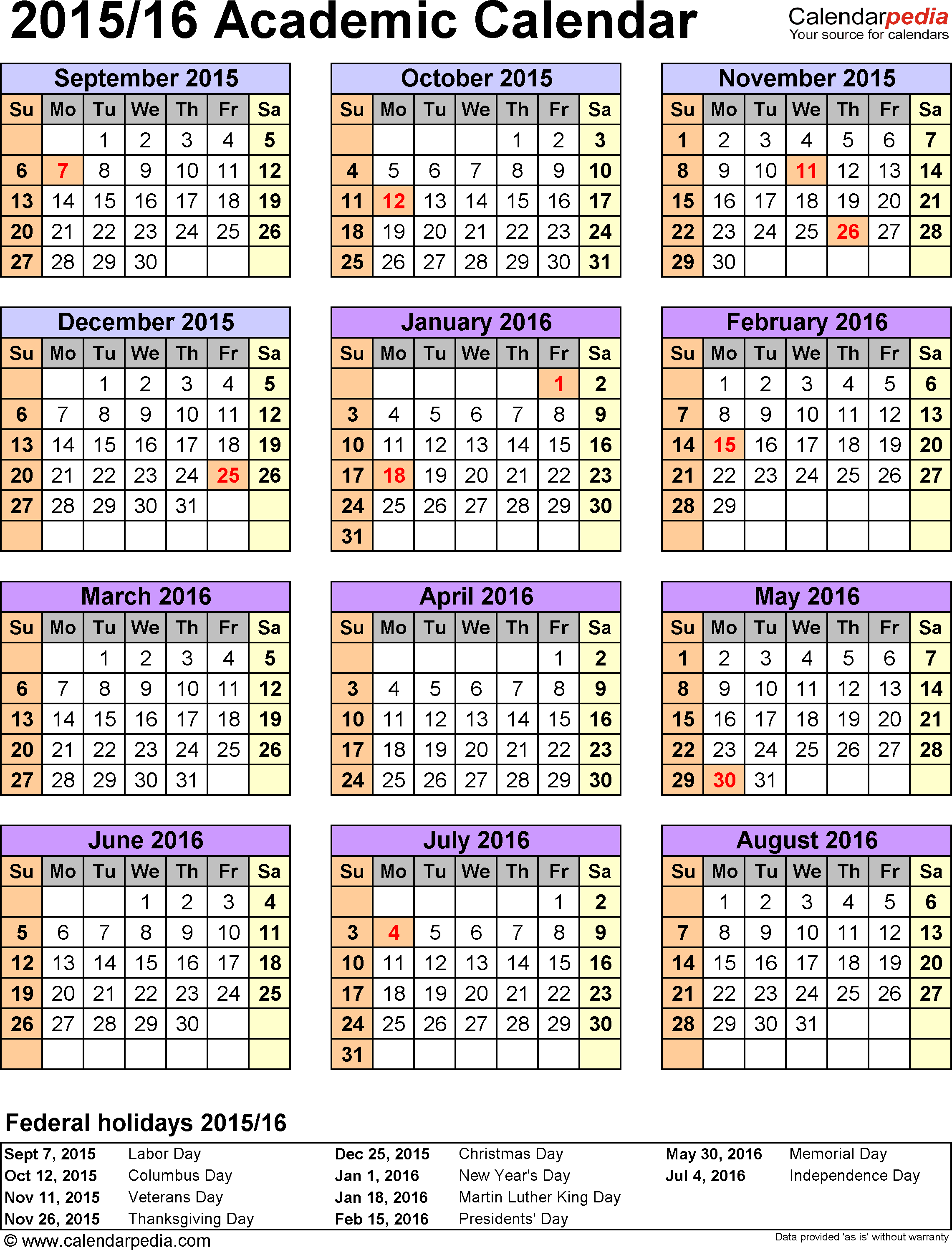 Template 7: Academic calendar 2015/16 for Excel, portrait, 1 page, year at a glance