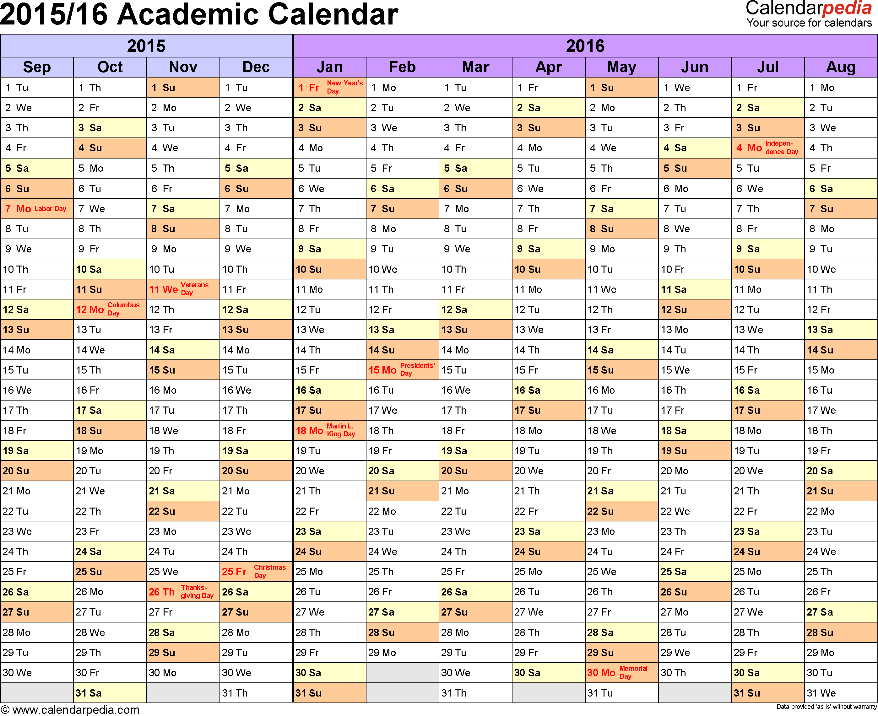 Template 1: Academic calendar 2015/16, for Microsoft Word (.docx file), landscape, 1 page