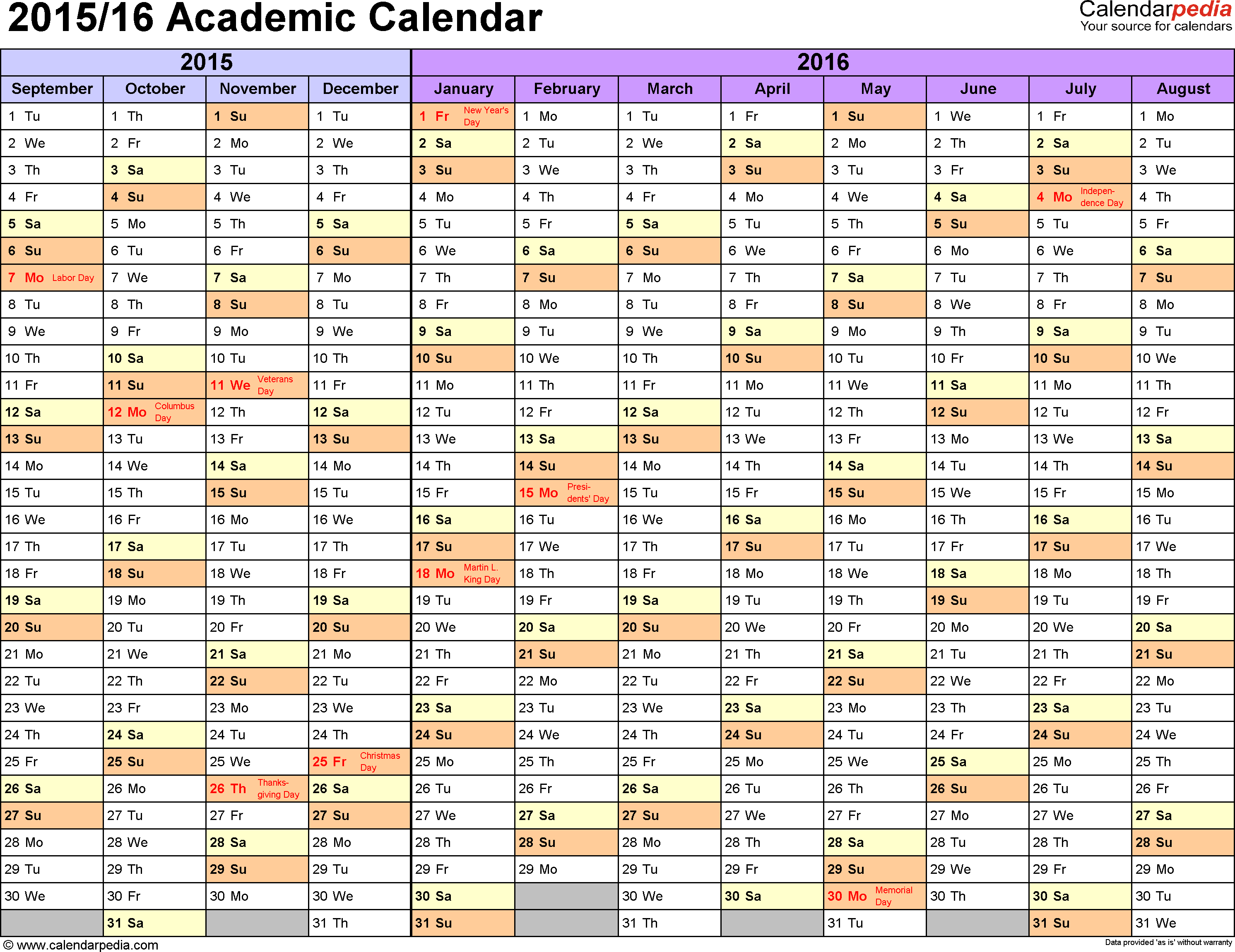Template 1: Academic calendar 2015/16 for Excel, landscape orientation, months horizontally, 1 page