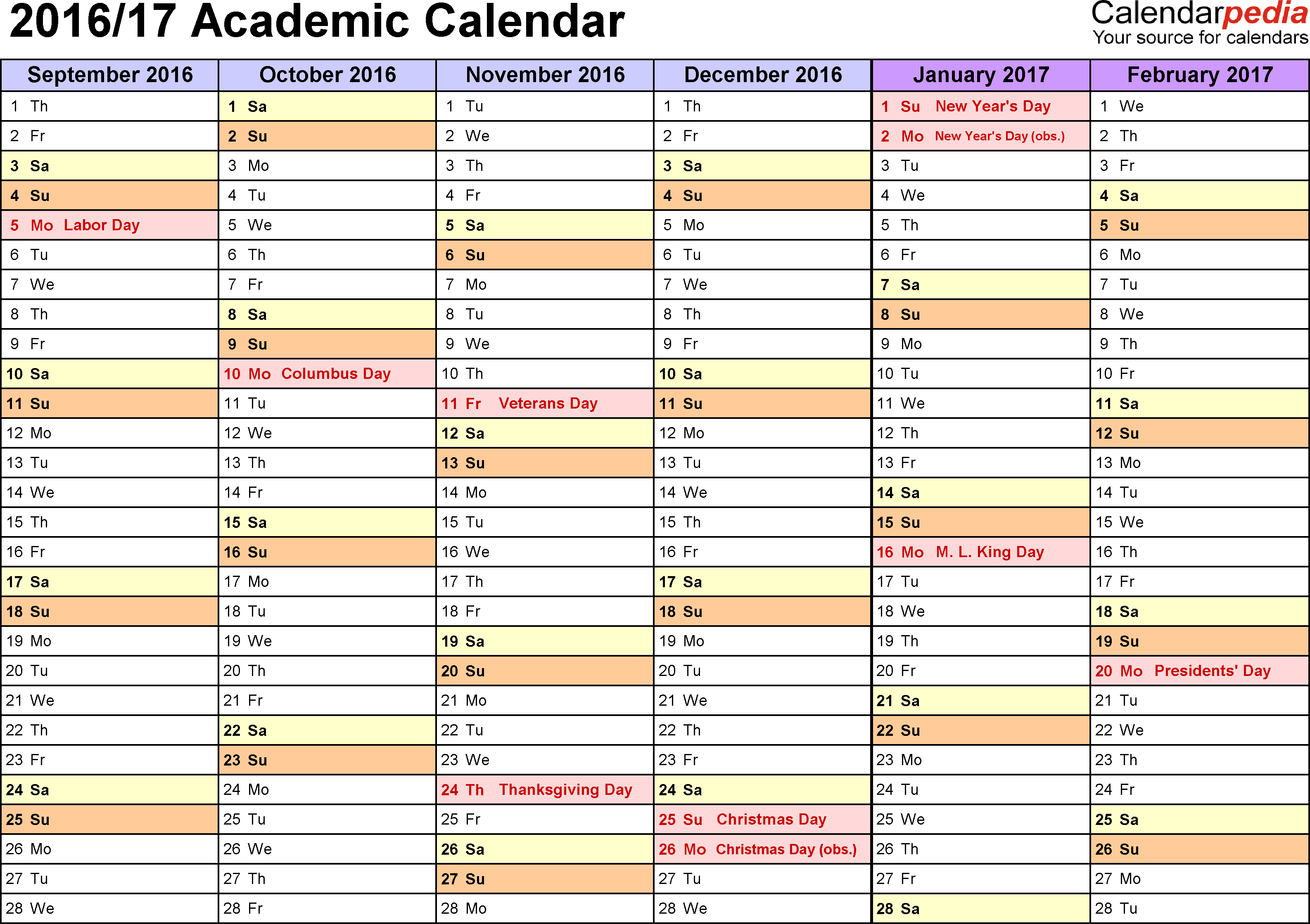 Template 3: Academic calendar 2016/17 for PDF, landscape orientation, months horizontally, 2 pages