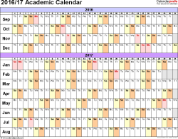 Template 2: Academic calendar 2016/17 for Excel, linear, landscape orientation, 1 page