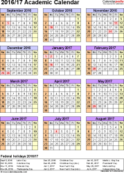 Template 7: Academic calendar 2016/17 for Word, portrait, 1 page, year at a glance