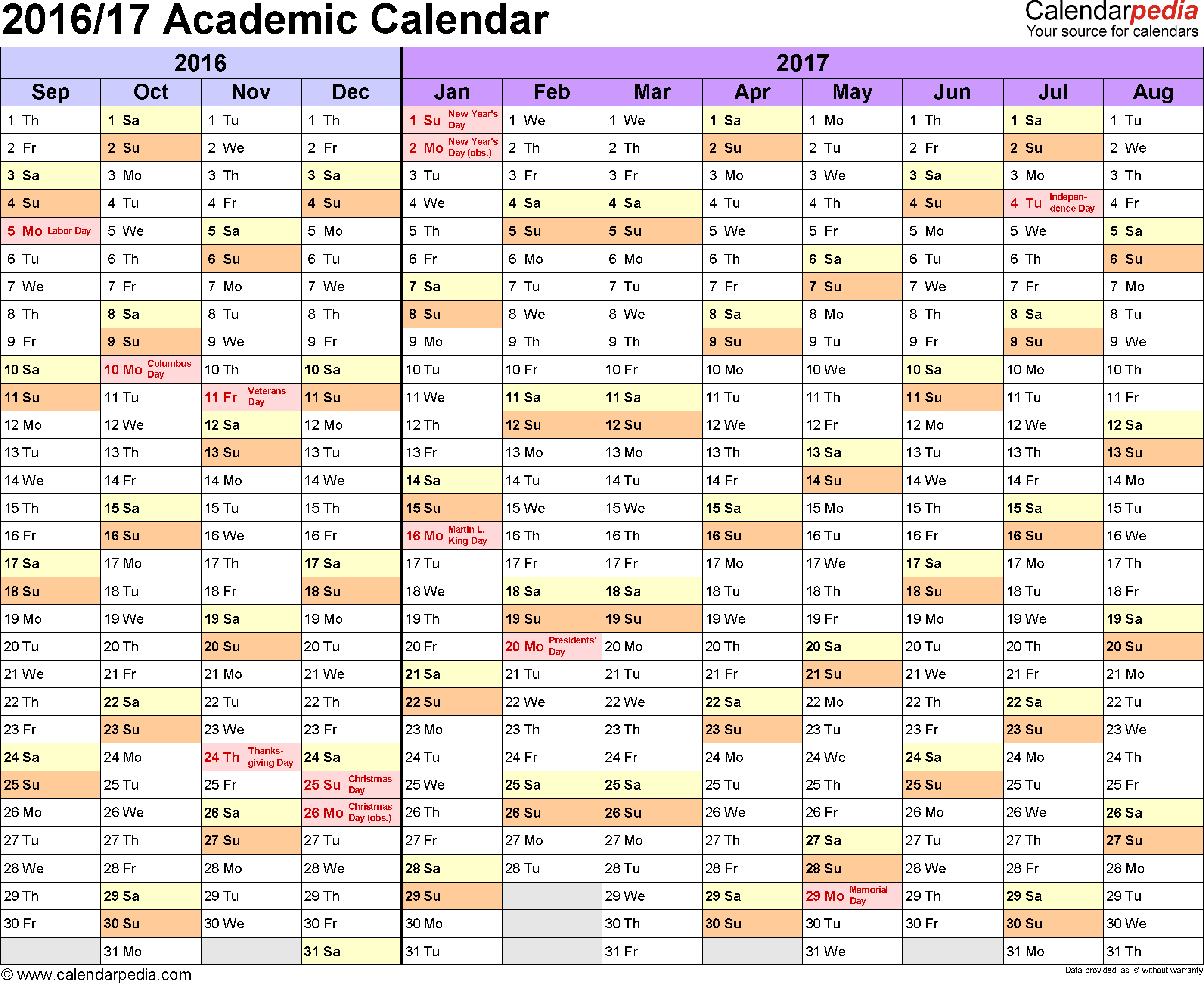 Template 1: Academic calendar 2016/17 for Word, landscape orientation, months horizontally, 1 page