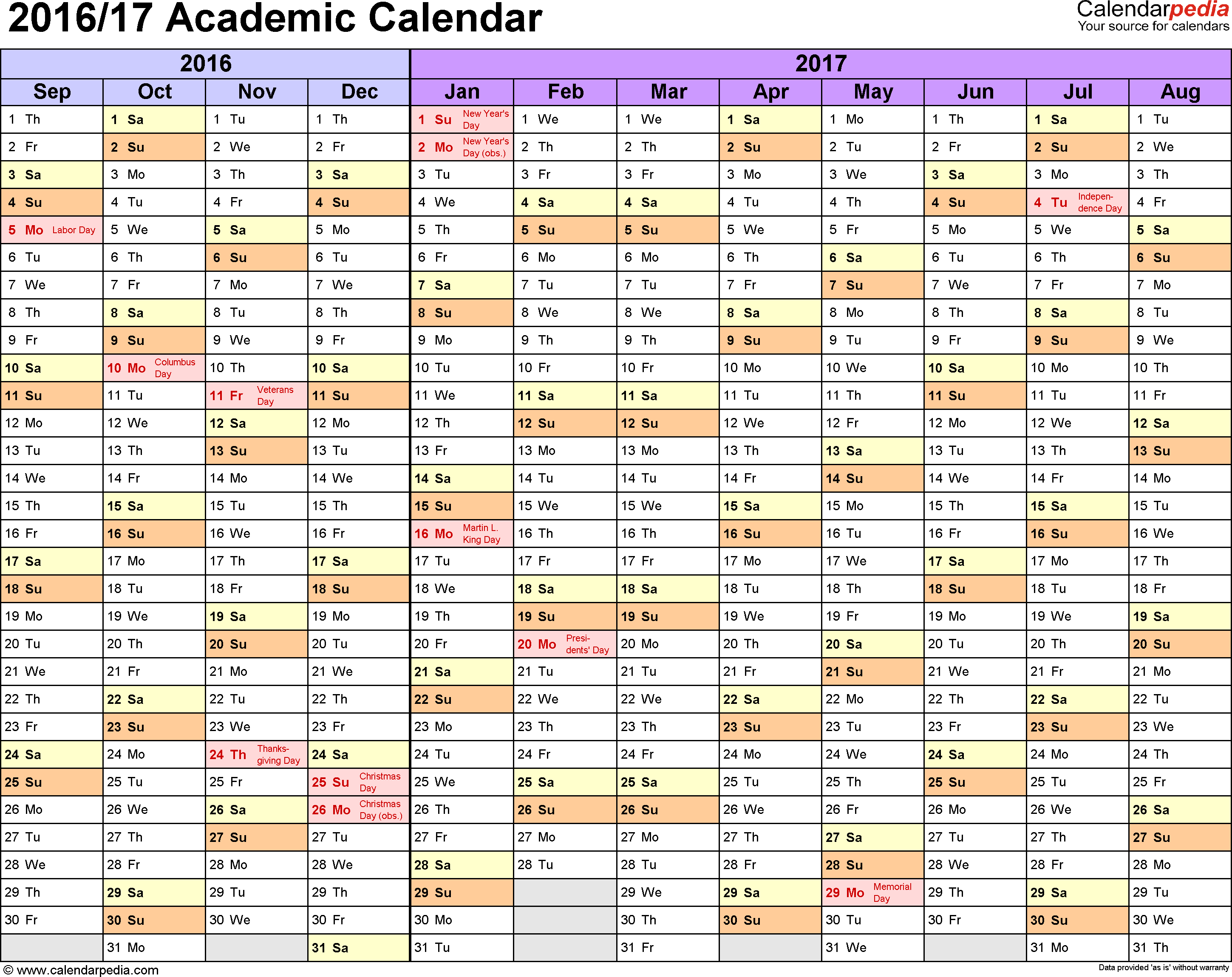 Template 1: Academic calendar 2016/17 for Excel, landscape orientation, months horizontally, 1 page