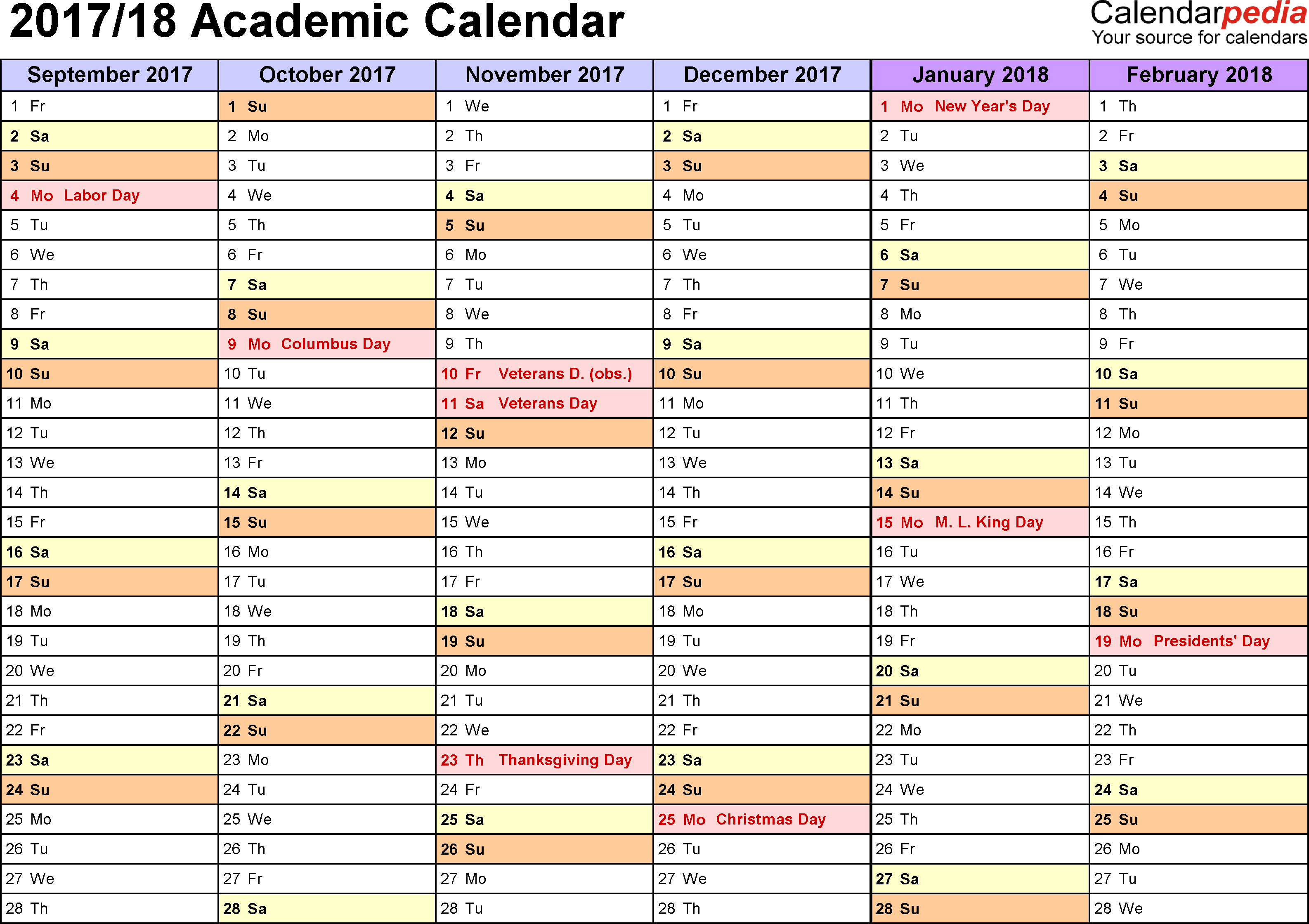 Template 3: Academic calendar 2017/18 for PDF, landscape orientation, months horizontally, 2 pages