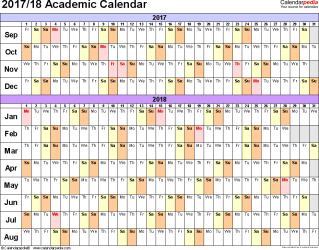 Template 2: Academic calendar 2017/18 for Excel, linear, landscape orientation, 1 page