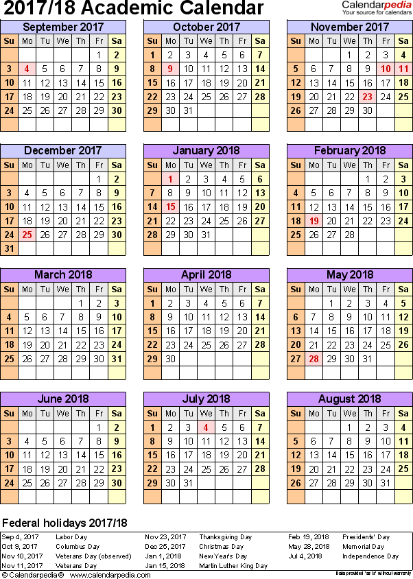 Template 7: Academic calendar 2017/18 for Excel, portrait, 1 page, year at a glance