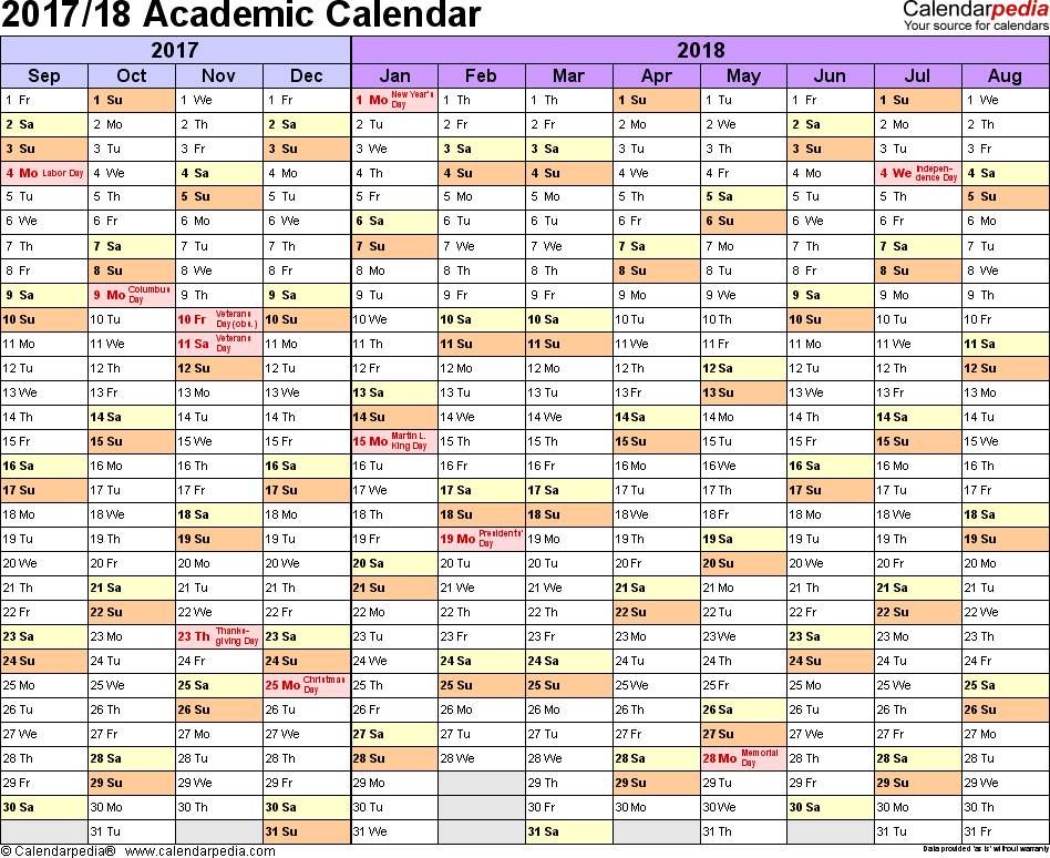 Template 1: Academic calendar 2017/18 for Word, landscape orientation, months horizontally, 1 page