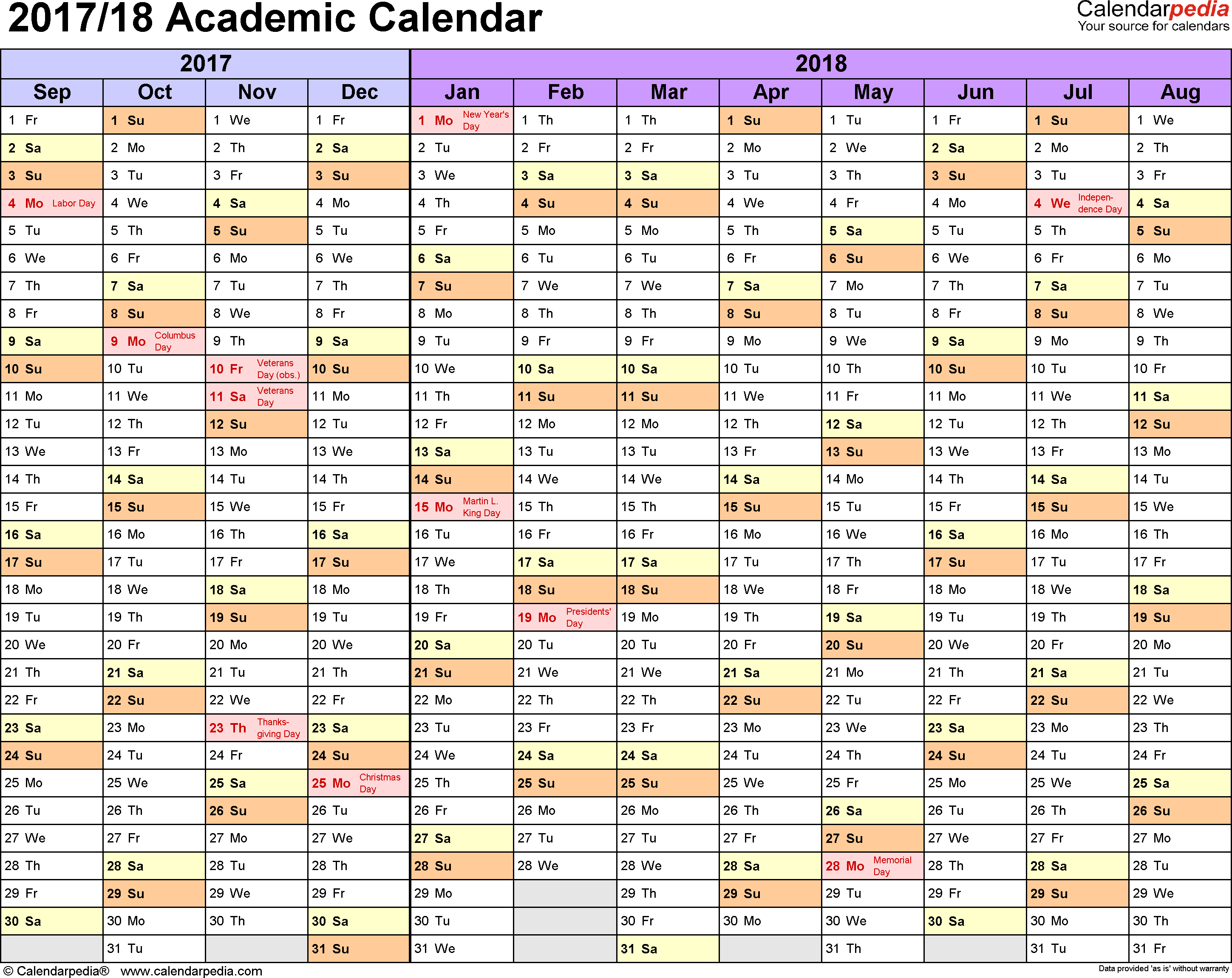 Template 1: Academic calendar 2017/18 for Excel, landscape orientation, months horizontally, 1 page