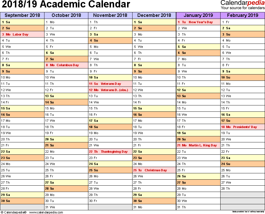 Template 3: Academic calendar 2018/19 for PDF, landscape orientation, months horizontally, 2 pages