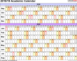 Template 3: Academic calendar 2018/19 for Excel, linear, landscape orientation, 1 page