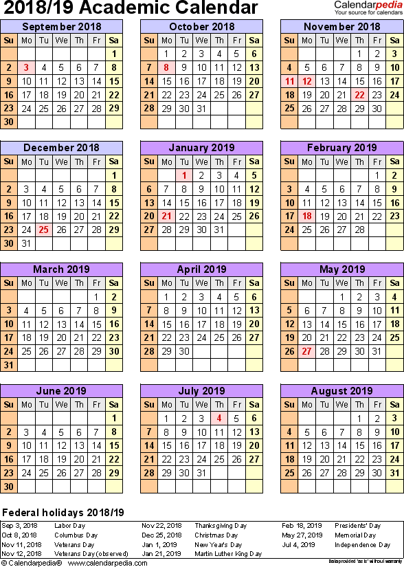 Template 7: Academic calendar 2018/19 for Microsoft Excel (.xlsx file), portrait, 1 page, year at a glance