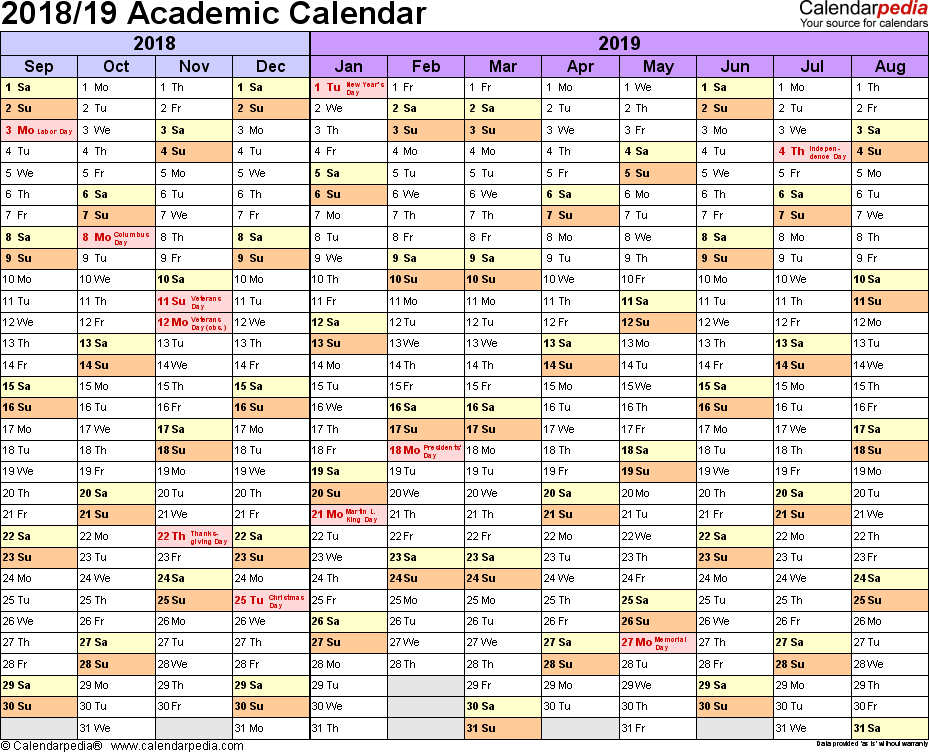 Template 1: Academic calendar 2018/19 for Word, landscape orientation, months horizontally, 1 page