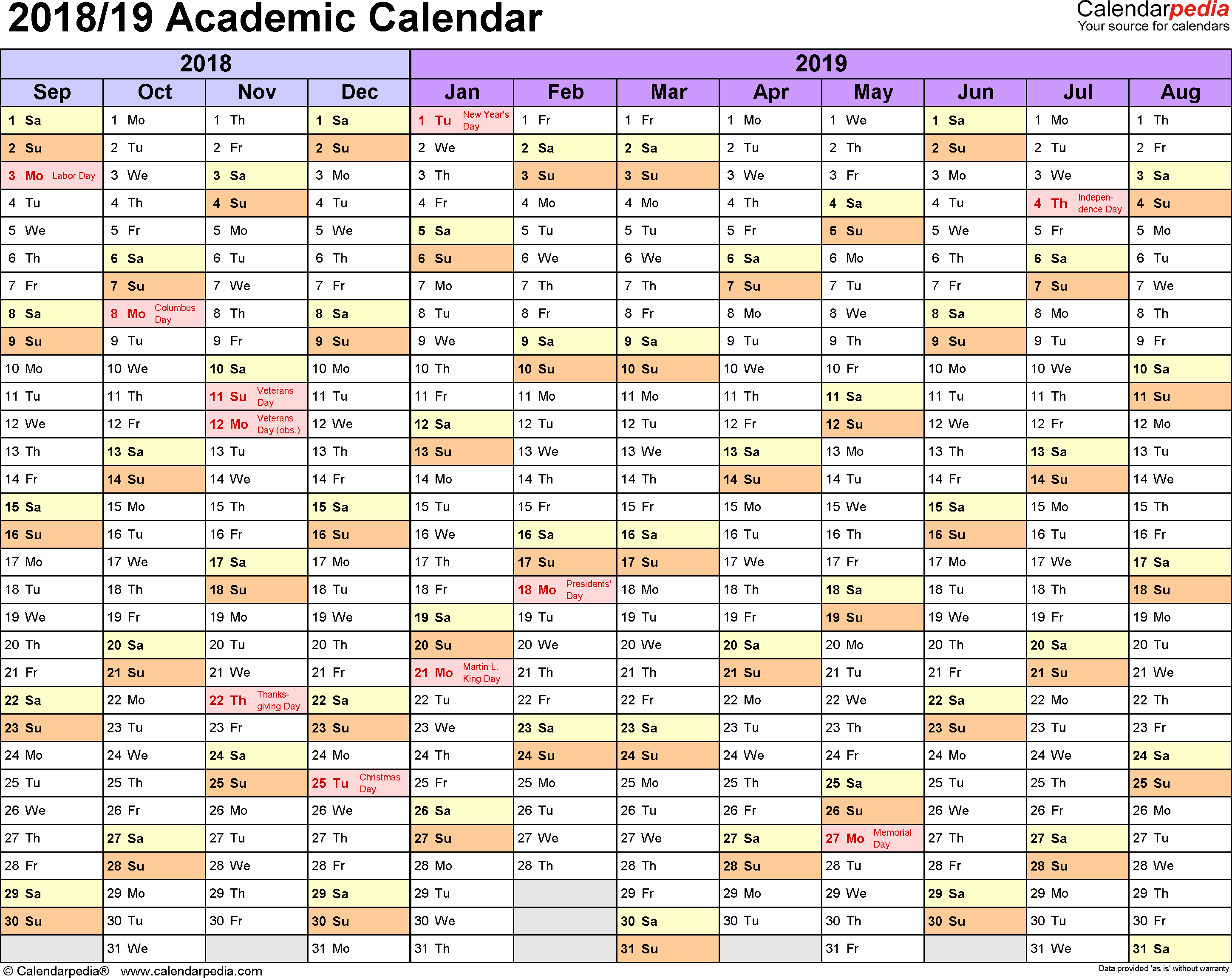 Template 1: Academic calendar 2018/19 for PDF, landscape orientation, months horizontally, 1 page