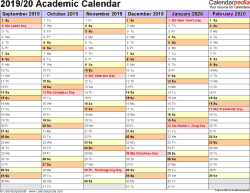 Template 3: Academic calendar 2019/20 for PDF, landscape orientation, months horizontally, 2 pages