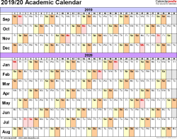 Template 2: Academic calendar 2019/20 for Excel, linear, landscape orientation, 1 page