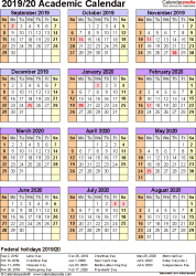 Template 7: Academic calendar 2019/20 for Word, portrait, 1 page, year at a glance