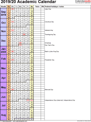 Template 8: Academic year calendar 2019/20 as PDF template, portrait orientation, 1 page, days in continuous (rolling) layout