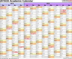 Template 1: Academic calendar 2019/20 for Word, landscape orientation, months horizontally, 1 page