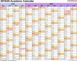 Template 1: Academic calendar 2019/20 for Excel, landscape orientation, months horizontally, 1 page