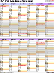 Template 5: Academic year calendar 2019/20 as PDF template, portrait orientation, 1 page, two 6-months blocks