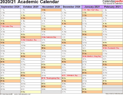 Template 3: Academic calendar 2020/21 for PDF, landscape orientation, months horizontally, 2 pages