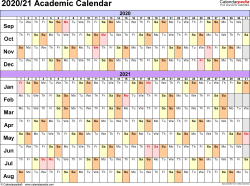 Template 2: Academic calendar 2020/21 for PDF, linear, landscape orientation, 1 page