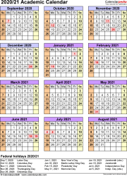 Template 7: Academic calendar 2020/21 for PDF, portrait, 1 page, year at a glance