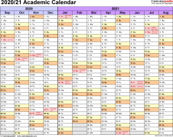 Template 1: Academic calendar 2020/21 for Word, landscape orientation, months horizontally, 1 page