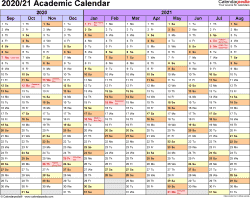 Template 1: Academic calendar 2020/21 for PDF, landscape orientation, months horizontally, 1 page