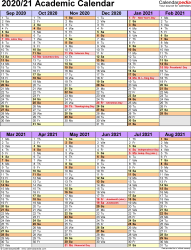 Template 5: Academic year calendar 2020/21 as PDF template, portrait orientation, 1 page, two 6-months blocks