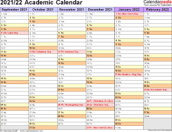 Template 3: Academic calendar 2021/22 for Excel, landscape orientation, months horizontally, 2 pages