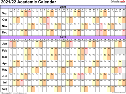 Template 2: Academic calendar 2021/22 for Excel, linear, landscape orientation, 1 page