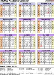 Template 7: Academic calendar 2021/22 for Excel, portrait, 1 page, year at a glance
